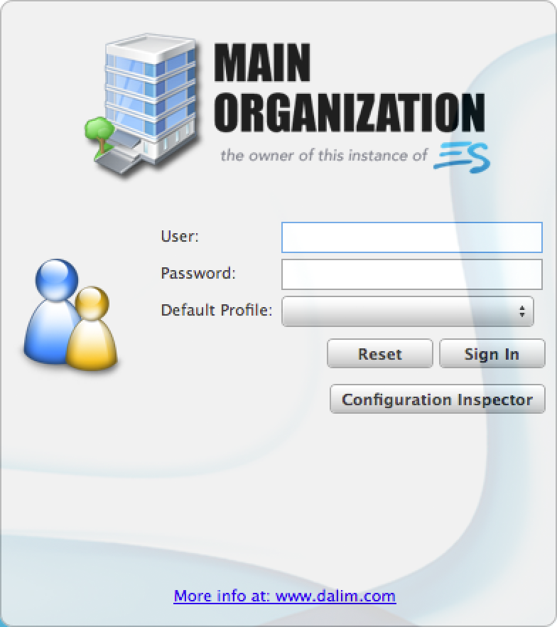 Dalim ES login window