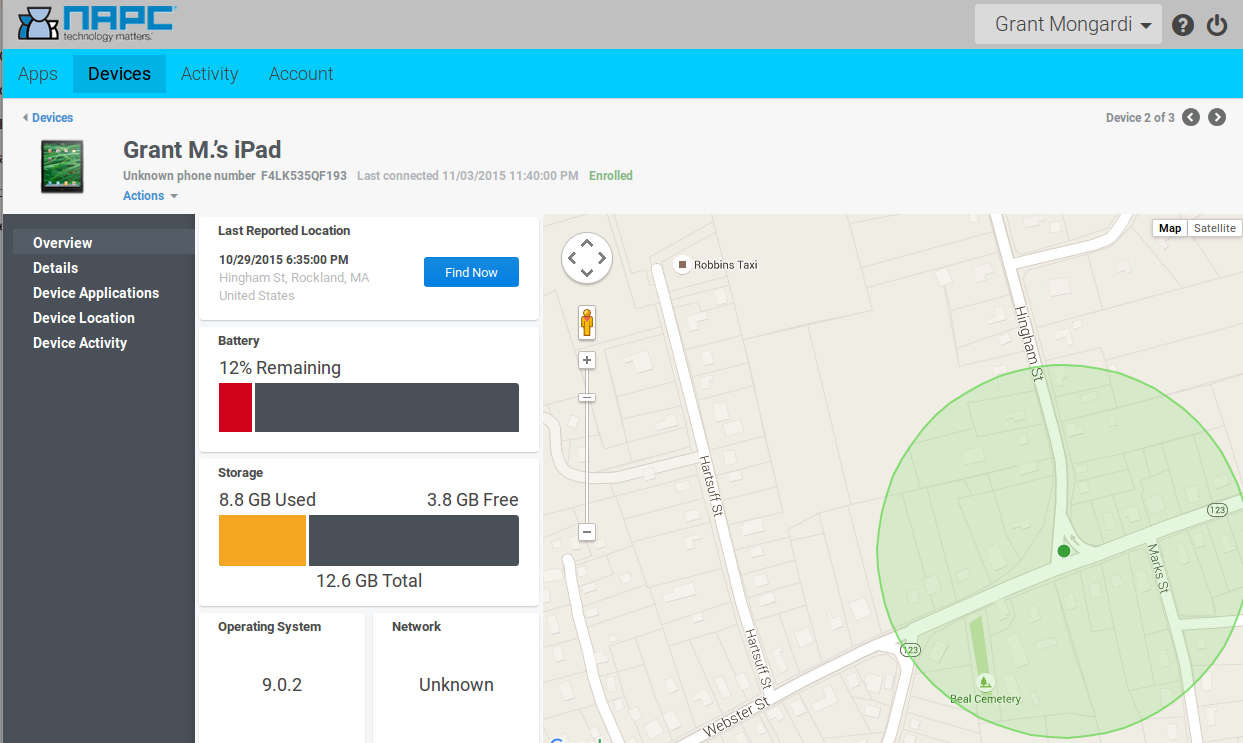 Centrify Cloud lets you find your lost device, lock it, and even wipe it!